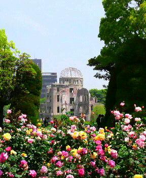 原爆ドームと薔薇の花